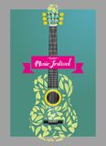 Guitar acoustic leaf. Vector illustration for music theme Stock Photo