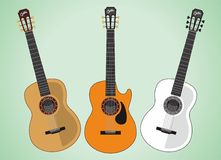 Guitar Acoustic. Vector illustration for music theme Stock Images