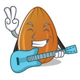 With guitar almond nut character cartoon Royalty Free Stock Image