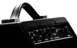 Guitar amp. Knobs of different functions on a guitar amp in black and white Stock Photography