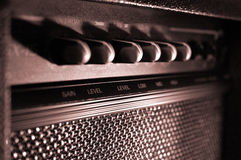 Guitar Amp Horizontal. A retro guitar amplifier in sepiatone Stock Photo