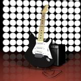 Guitar, amp and lights Royalty Free Stock Image