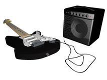 Guitar and amp. Over white, 3d render Royalty Free Stock Photos