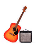 Guitar and the amplifier. The electric amplifier of a signal, allows to use a classical guitar in structure fate of group Royalty Free Stock Image