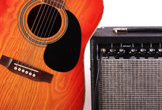 Guitar and the amplifier - 2. The guitar connected to the sound amplifier is used at concerts fate of groups Royalty Free Stock Images
