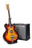 Guitar and amplifier. On white background royalty free stock image