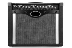 Guitar amplifier. Black guitar amplifier isolated on white background Stock Photography