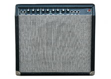 Guitar amplifier. Black guitar amplifier isolated on white royalty free stock photo