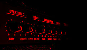 Guitar Amplifier Control Panel In Red Light Royalty Free Stock Image
