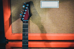 Guitar with amplifier Royalty Free Stock Image