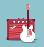 Guitar and amplifier Royalty Free Stock Photography