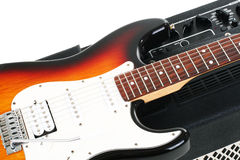 Guitar amplifier and electricguitar Stock Photography