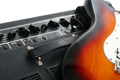 Guitar amplifier and electricguitar Stock Photos