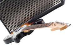 Guitar amplifier and electricguitar Stock Photo
