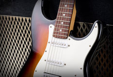 Guitar amplifier and electricguitar Royalty Free Stock Photo
