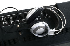 Guitar amplifier and headphones Stock Photos