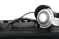Guitar amplifier and headphones Royalty Free Stock Photography