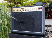 Guitar amplifier with microphones Royalty Free Stock Photo