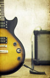 Guitar and amplifier - old styled photo Stock Photography