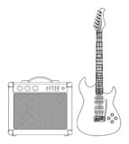 Guitar and Amplifier Royalty Free Stock Image