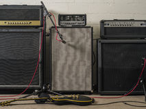 Guitar amplifiers in recording studio stock image