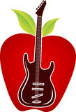 Guitar apple logo. Illustration art of a guitar apple logo with isolated background Stock Image
