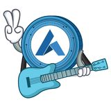 With guitar Ardor coin mascot cartoon. Vector illustration Stock Photography