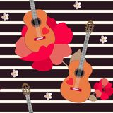 Guitar as a fruit grows from a poppy flower. Funny seamless pattern on a striped background stock illustration