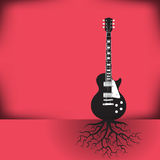 A guitar as a tree with roots background. With space for your text Royalty Free Stock Images