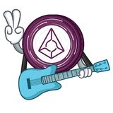 With guitar Augur coin mascot cartoon. Vector illustration Royalty Free Stock Images
