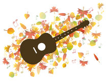 Guitar and Autumn leaves illustration Stock Images