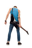 Guitar on back of a man Stock Images