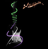 Guitar background. Collage made of guitar and light effects on black background Stock Photos