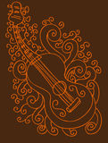 Guitar Background. A hand drawn sketch of a guitar with swirl background Royalty Free Stock Photos