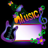 Guitar background. With space for text on sign Royalty Free Stock Image