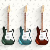 Guitar background. Set of musical instruments. Stock Photo