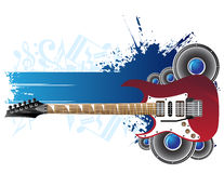 Guitar and banner. Red guitar, speakers and blue banner Stock Photos