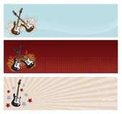 Guitar Banners. Set of three electric guitar banners Stock Image