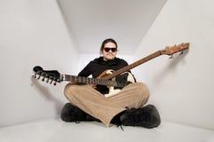 Guitar and bass man Stock Image