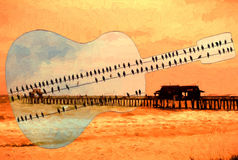 Guitar with birds over fishing pier Stock Images