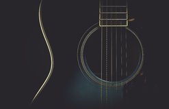 Guitar on black with matte retro look royalty free stock image