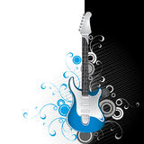 Guitar on black and white. Guitar on black white background with swirls and flourishes Royalty Free Stock Photos