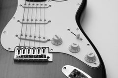 Guitar in black and white. A close up of an electric guitar in black and white Royalty Free Stock Image