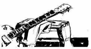 Guitar. Black and white illustration of electric guitar neck on low chair Royalty Free Stock Images