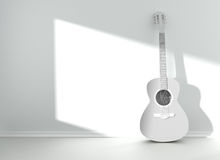 Guitar in blank empty room Royalty Free Stock Photos