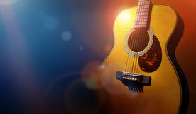 Guitar and blank grunge stage background royalty free stock photography