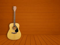 Guitar in blank room background. Guitar in blank empty wood room background Royalty Free Stock Photography