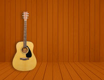 Guitar in blank room background. Guitar in blank empty wood room background Royalty Free Stock Images