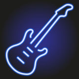 Guitar blue neon glowing on dark background vector illustration Royalty Free Stock Photography