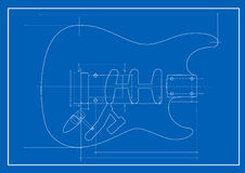 Guitar blueprint. Vector illustration of guitar blueprint Stock Image